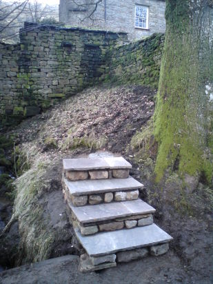 Curved steps during construction